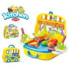 Kitchen Yellow Kids Toys-Deluxe Suitcase Pretend Play Set Roller