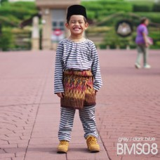 Baju Melayu Kain Tshirt (Teluk Belanga) Stripe - BMS08