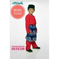 BM50 - Baju Melayu Kain Tshirt (Red Chili)