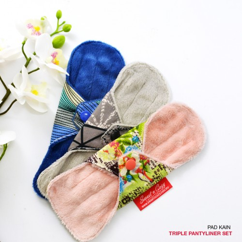 Cloth Pad – Triple Pantyliner Set + FREE Natural Feminine Wash Soap