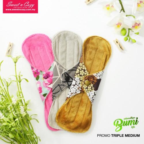 Cloth Pad – Triple Medium Set + FREE Natural Feminine Wash Soap