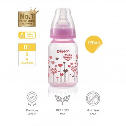 Pigeon Flexible Slim-Neck Nursing Bottle, Pink, PP 120ml/4oz